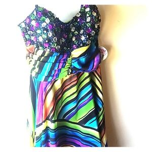 GORGEOUS Deb Special Occasion Dress Hi Low Rainbow